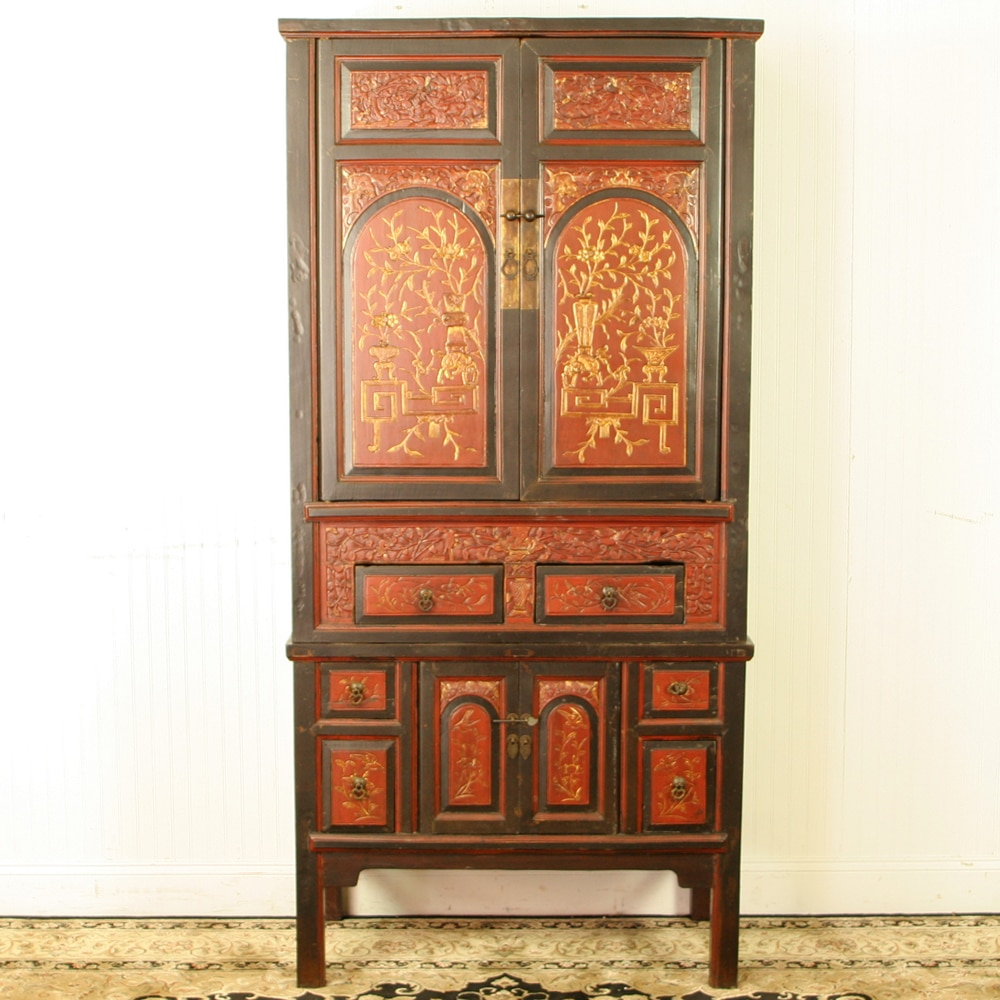 Antique chinese wedding wardrobe cabinet red brown gold for Antique asian cabinet