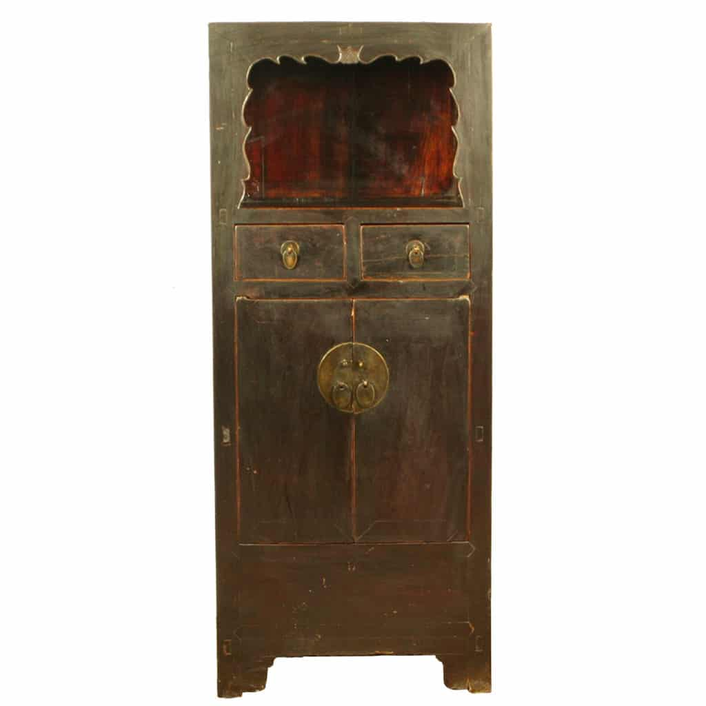 Antique chinese tall display linen cabinet 27 inch wide 66 for Antique asian cabinet