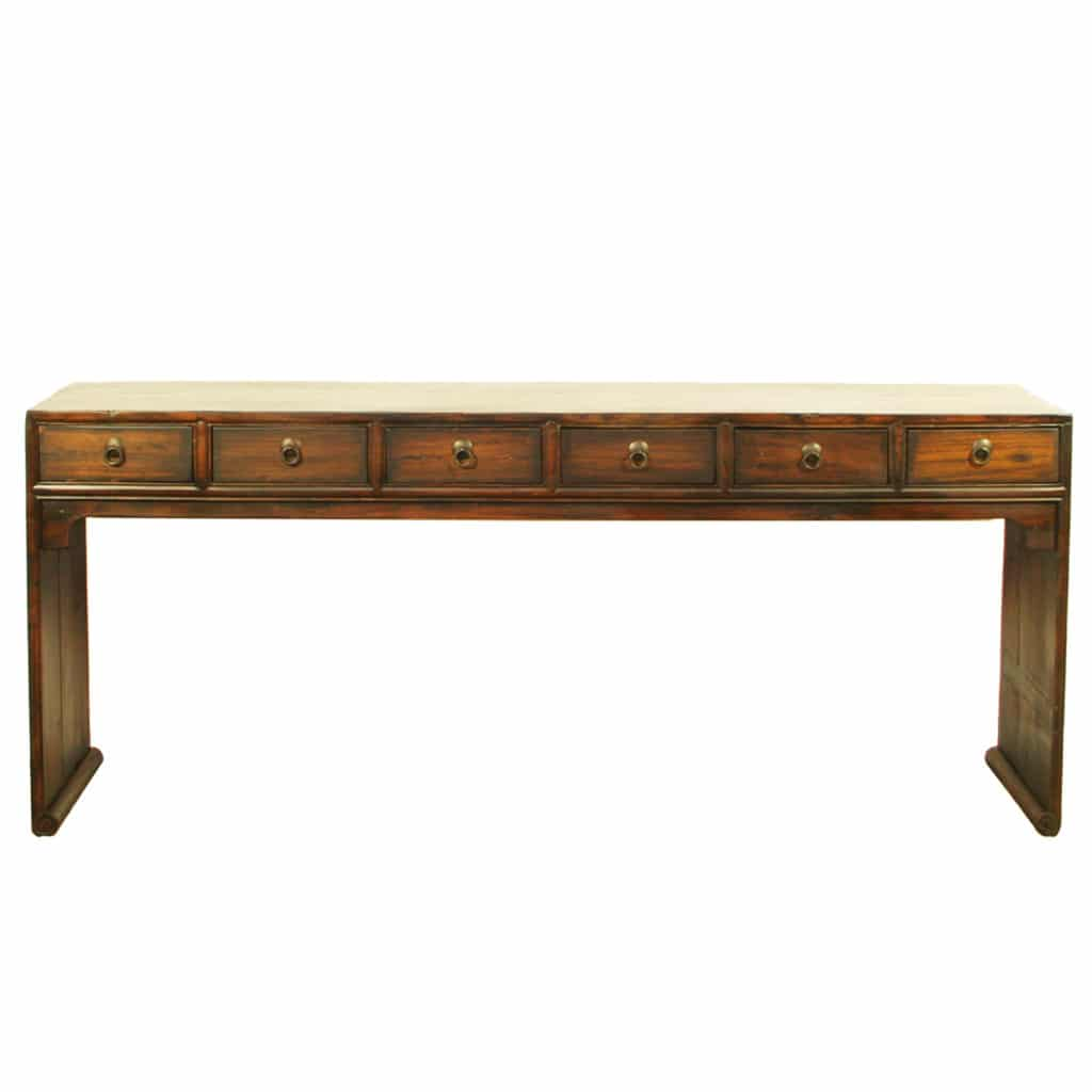 Asian 79 Inch Long 6 Drawer Console Table