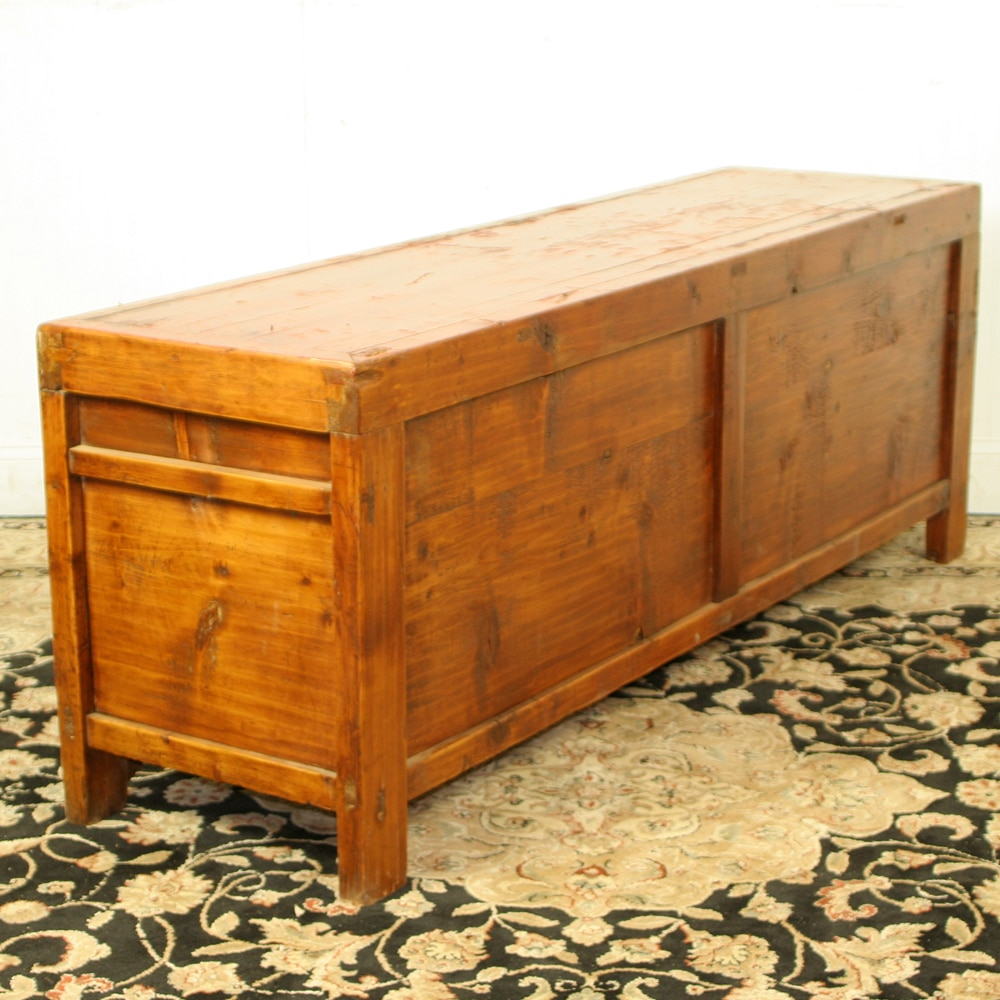 Antique Chinese 5 Ft Long Red Low Kang Table Cabinet-2769