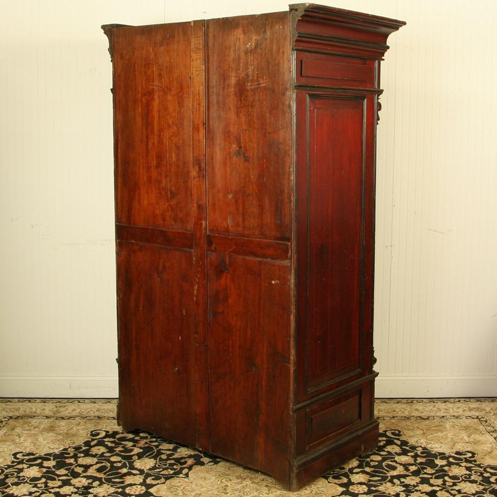 Rare Antique Red Chinese Wardrobe Wedding Cabinet