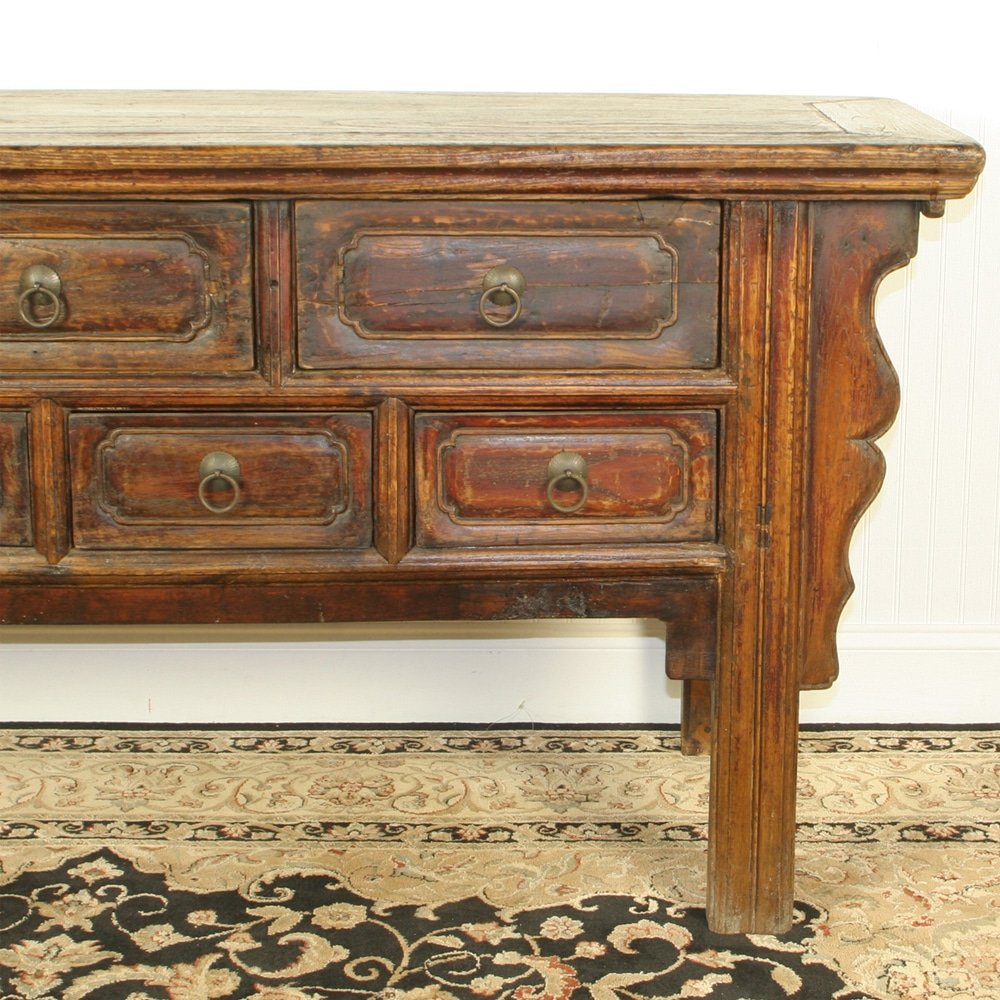 Long Sofa Table: Antique Chinese 68 Inch Long Console Table 7 Drawers