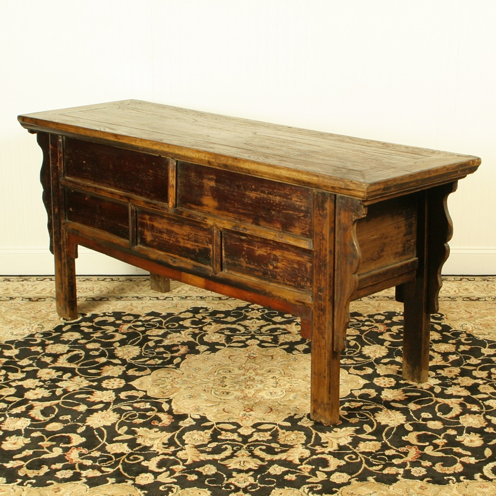 Antique Chinese 68 Inch Long Console Table 7 Drawers