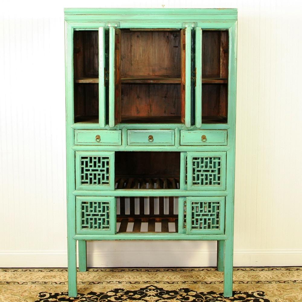 Antique blue green chinese tall kitchen vegetable wine cabinet - Green kitchen cabinets storage ...