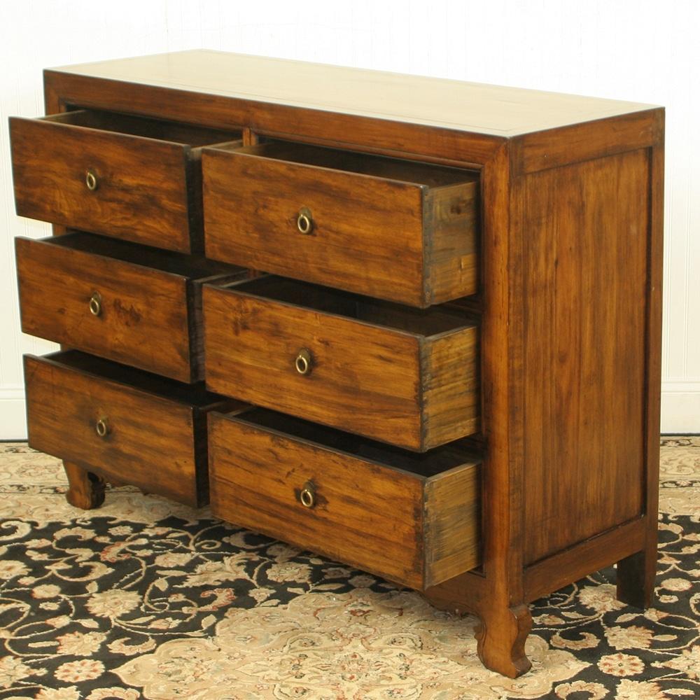 Antique Repro 48 Inch Wide 6 Drawer Walnut Chest Dresser