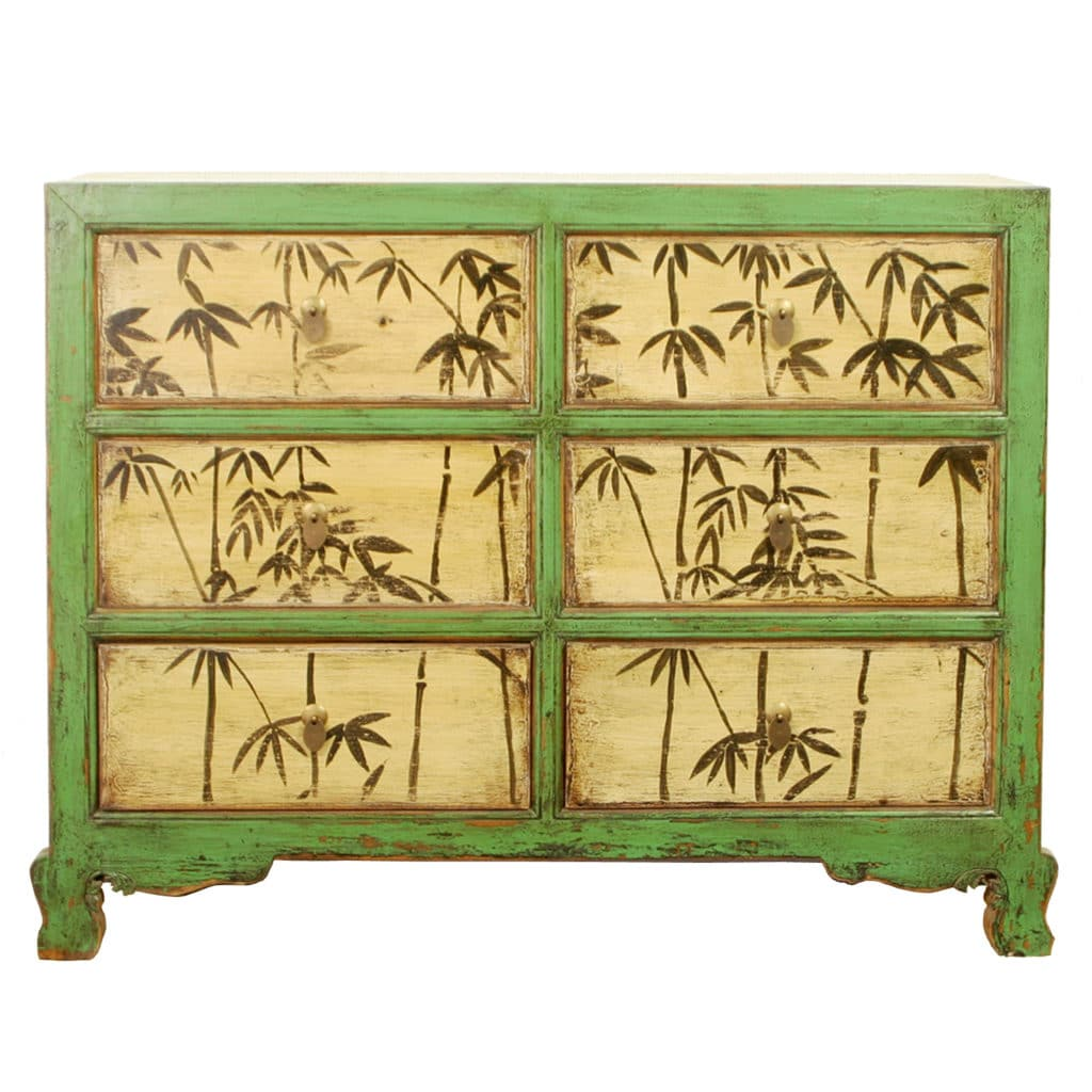 Repro antique 48 inch wide 6 drawer green cabinet for Reproduction oriental furniture