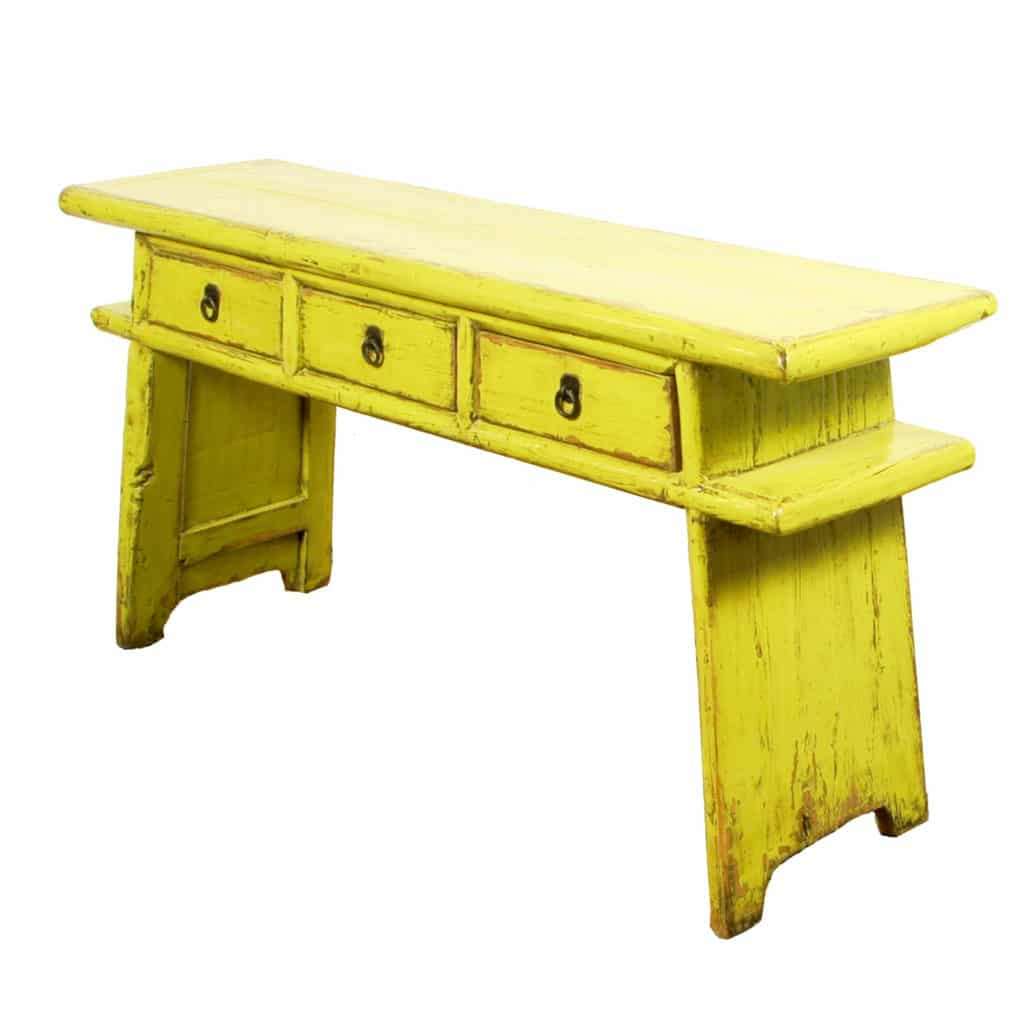 65 Inch Long Chinese Country Table Yellow Green