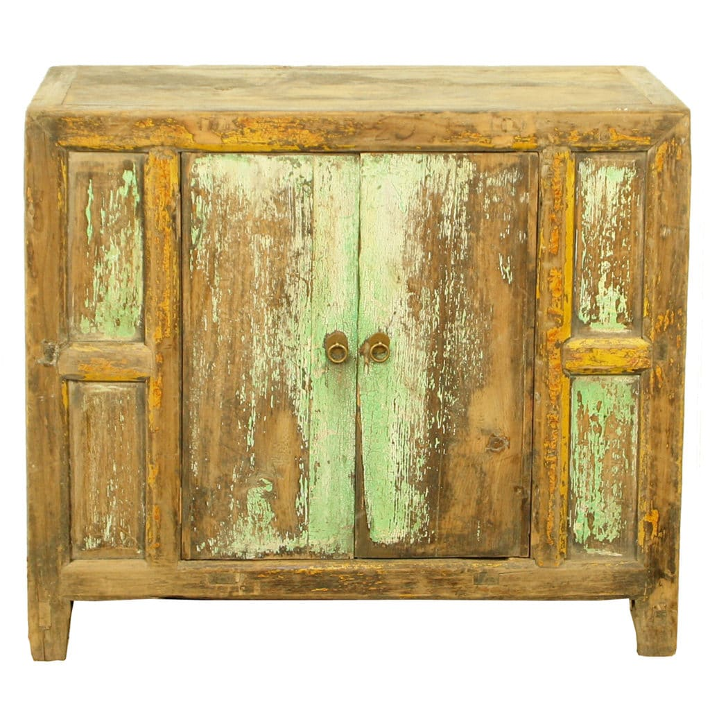 - Antique Chinese Rustic Blue Green Cabinet Vanity 37