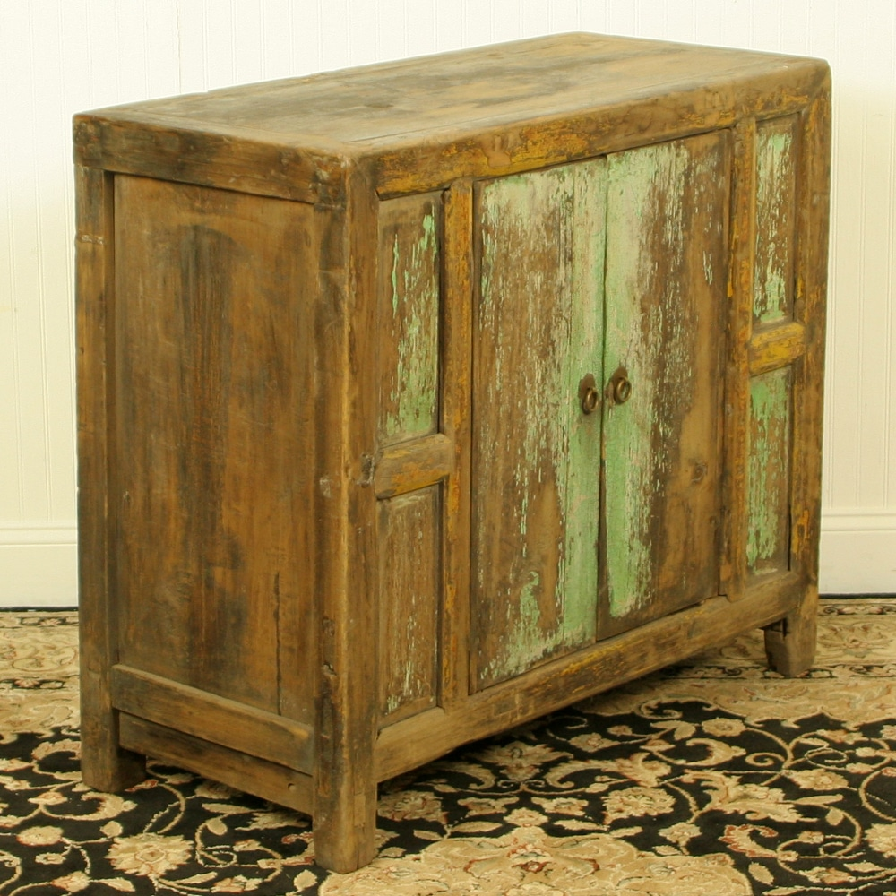 Antique chinese rustic blue green cabinet vanity 37 w 33 t for Antique asian cabinet
