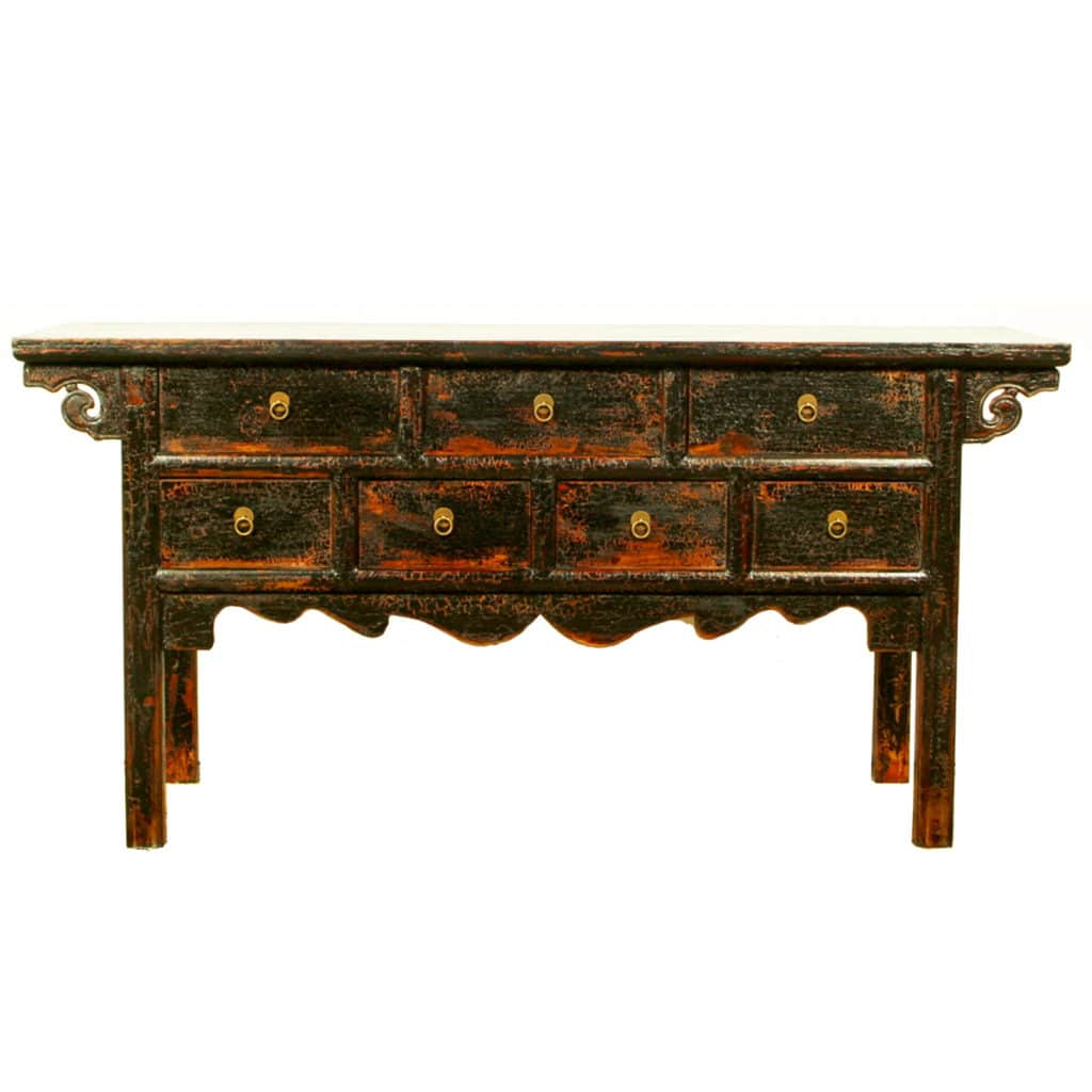 Incroyable 64 Inch Long Black Asian Buffet Table