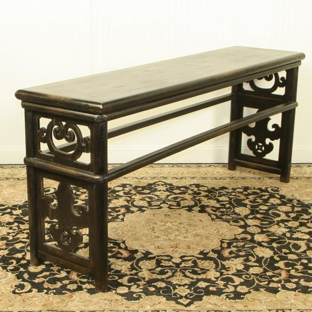 Chinese 79 inch long black lacquer sofa table for Sofa table 48 inches