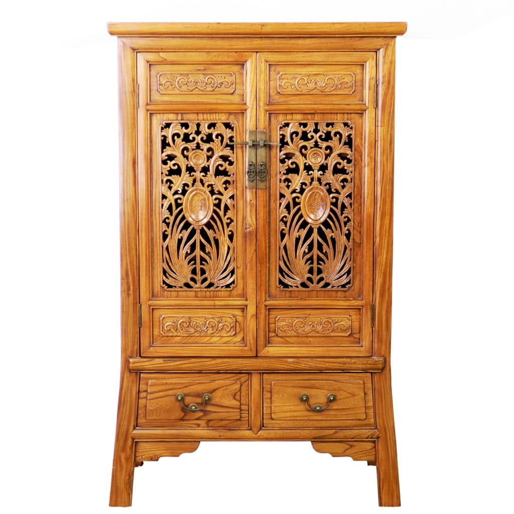 Chinese Carved 2 Door Elm Wood Cabinet 53 Quot Tall Asian