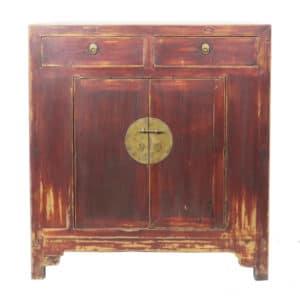 41 inch Wide Antique Chinese 2 Door Brown Cabinet
