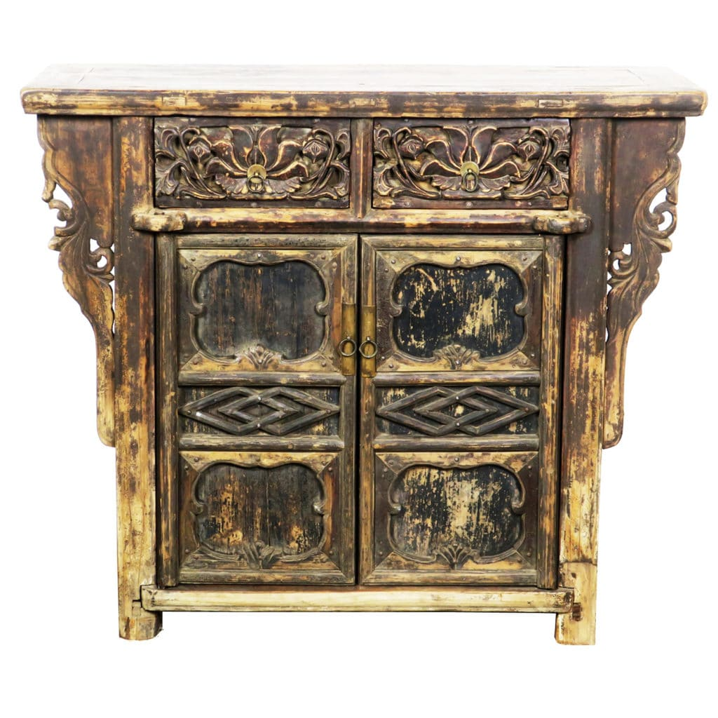 Antique chinese 42 inch 2 door carved cabinet with 2 drawers for Antique asian cabinet
