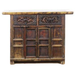 43 inch Wide Antique Chinese 2 Door Cabinet Vanity