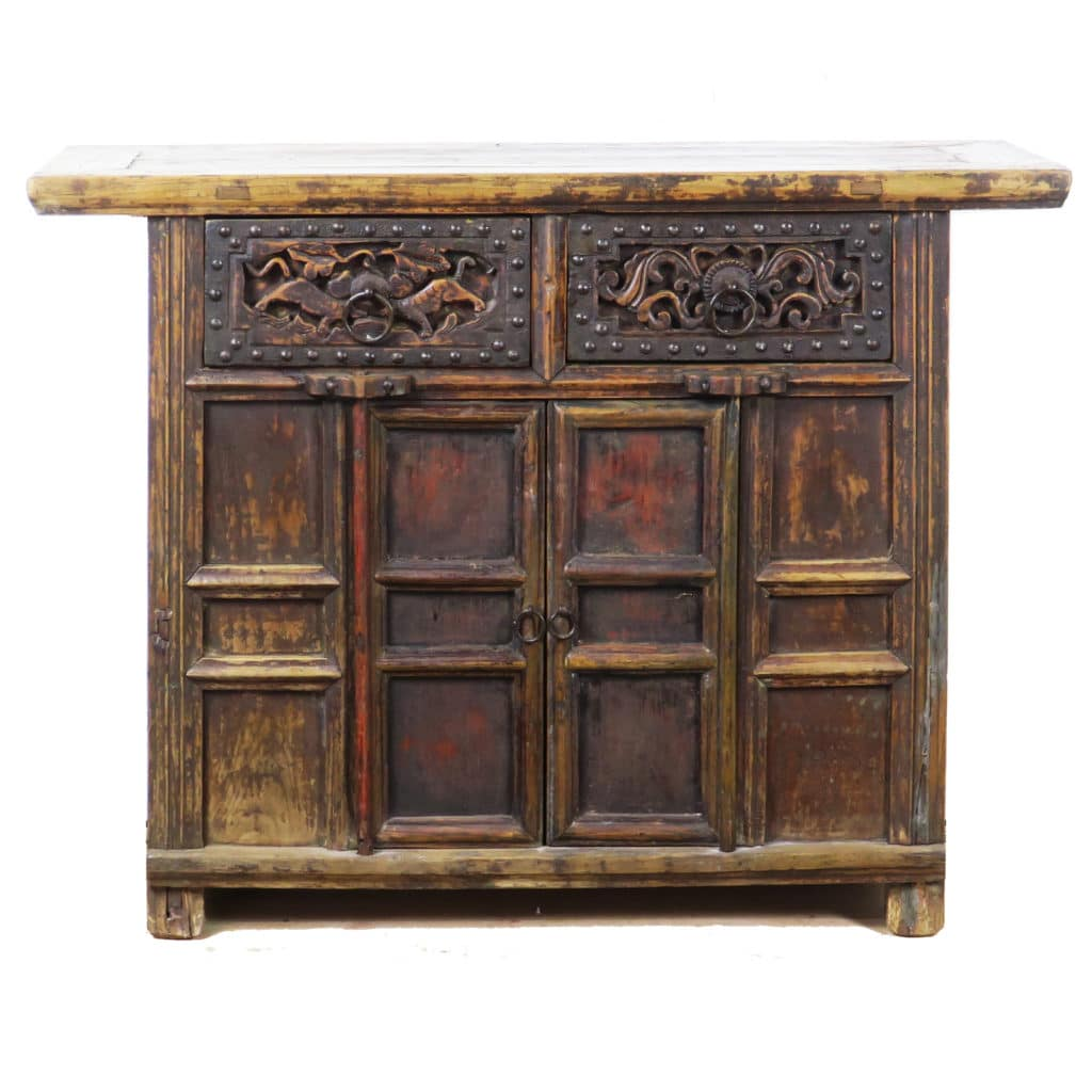 43 Inch Wide Antique Chinese 2 Door Cabinet Vanity Carved